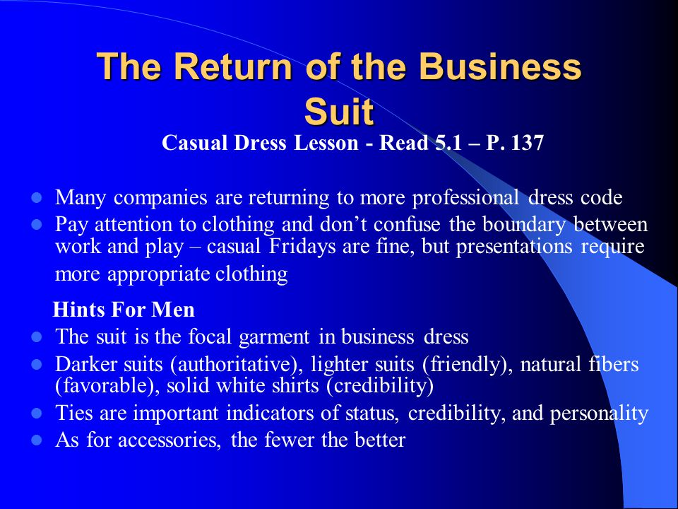 The Return of the Business Suit