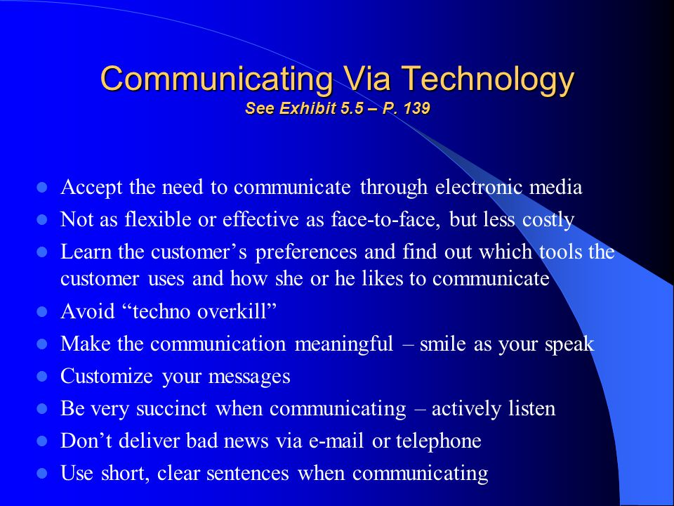Communicating Via Technology See Exhibit 5.5 – P. 139
