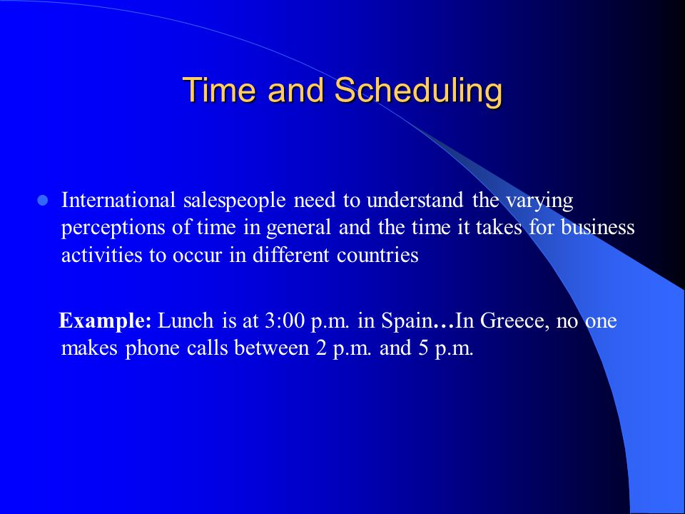 Time and Scheduling