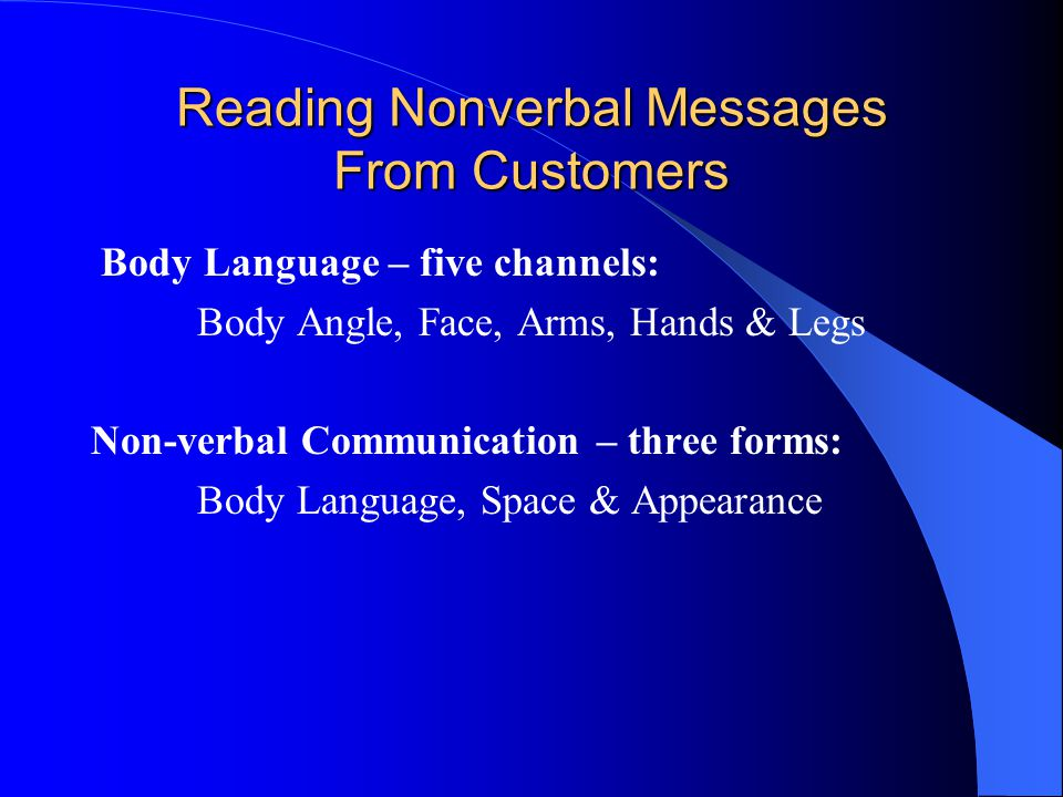 Reading Nonverbal Messages From Customers