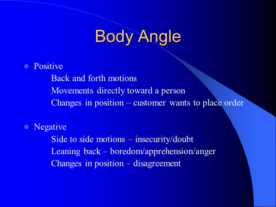 Body Angle Positive Back and forth motions