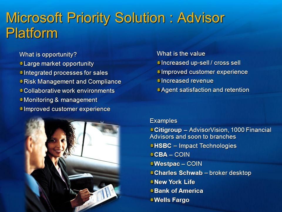 Microsoft Priority Solution : Advisor Platform