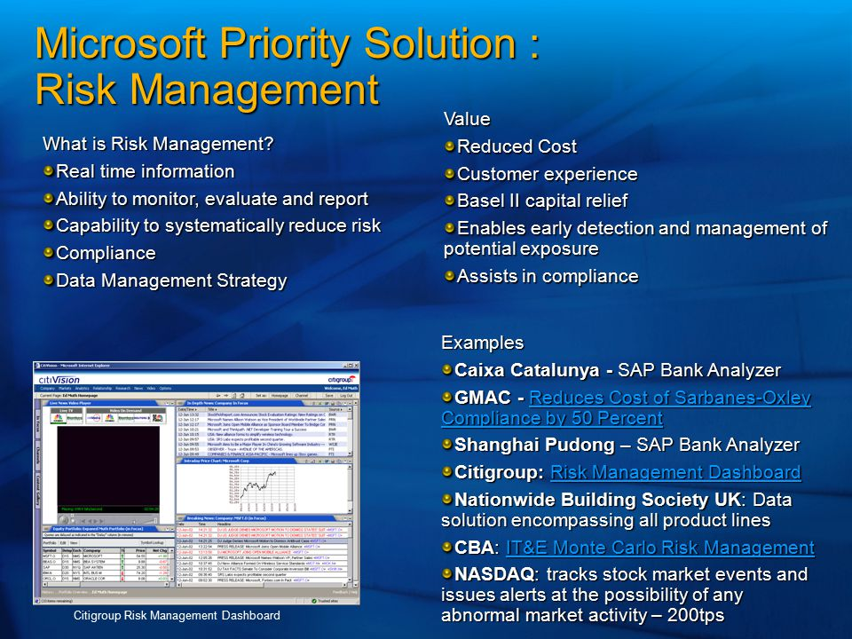 Microsoft Priority Solution : Risk Management