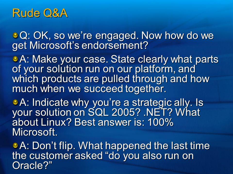 Rude Q&A Q: OK, so we're engaged. Now how do we get Microsoft's endorsement