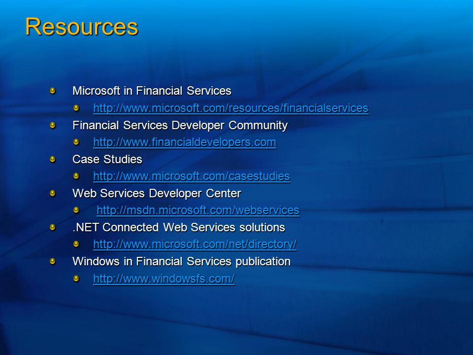 Resources Microsoft in Financial Services