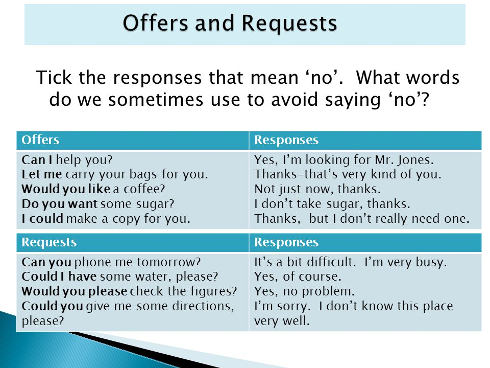 Offers and Requests Tick the responses that mean 'no'. What words do we sometimes use to avoid saying 'no'