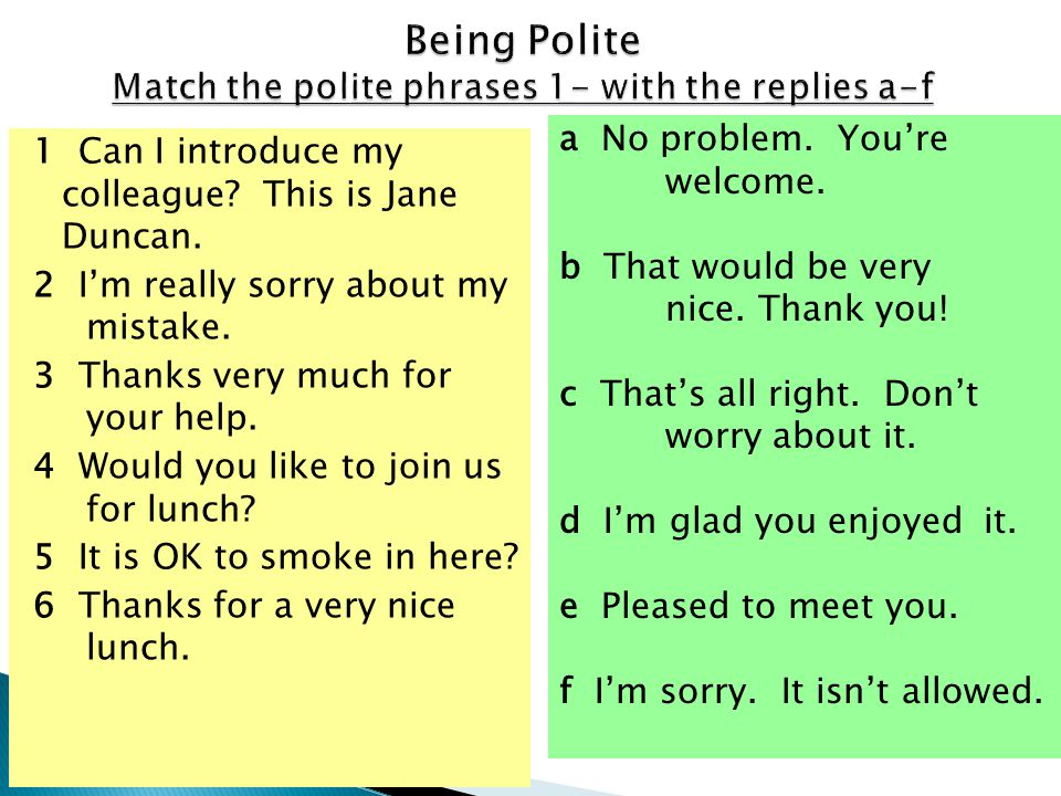 Being Polite Match the polite phrases 1- with the replies a-f