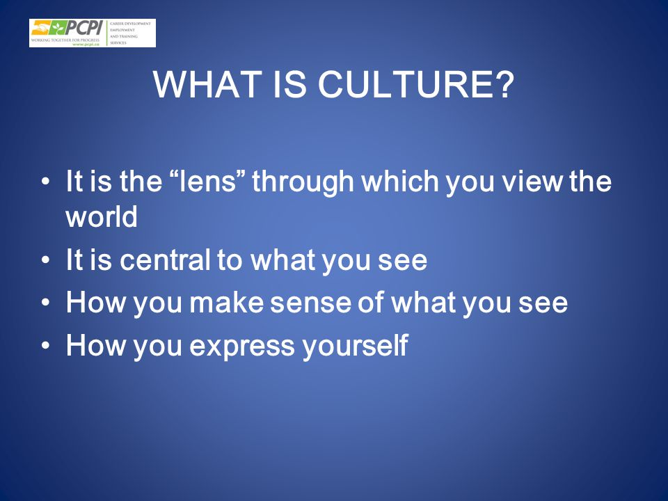 WHAT IS CULTURE It is the lens through which you view the world