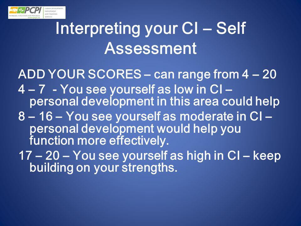 Interpreting your CI – Self Assessment