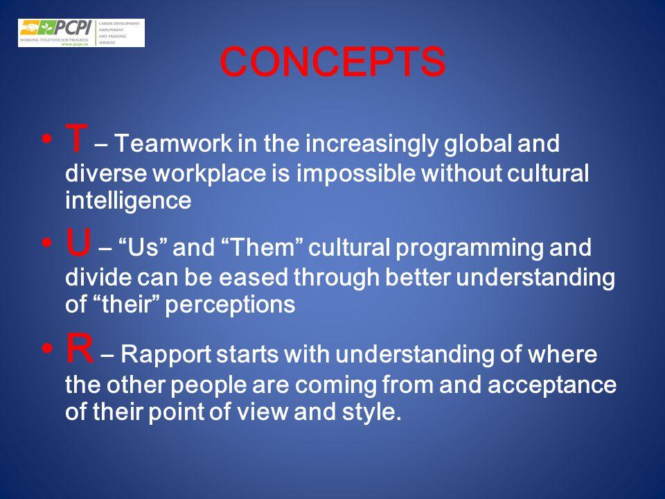 CONCEPTS T – Teamwork in the increasingly global and diverse workplace is impossible without cultural intelligence.