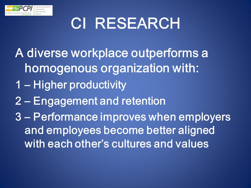 CI RESEARCH A diverse workplace outperforms a homogenous organization with: 1 – Higher productivity.