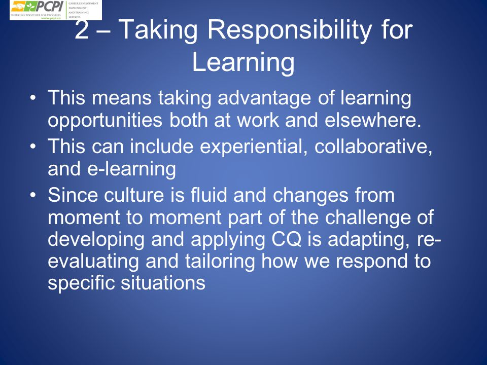 2 – Taking Responsibility for Learning