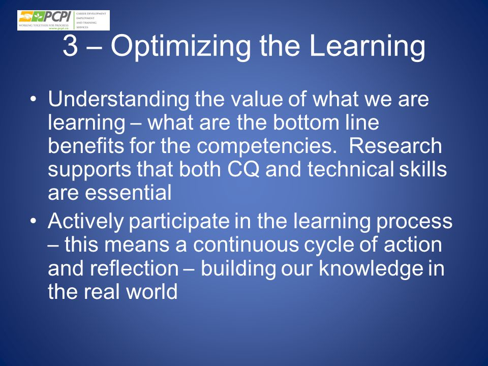 3 – Optimizing the Learning