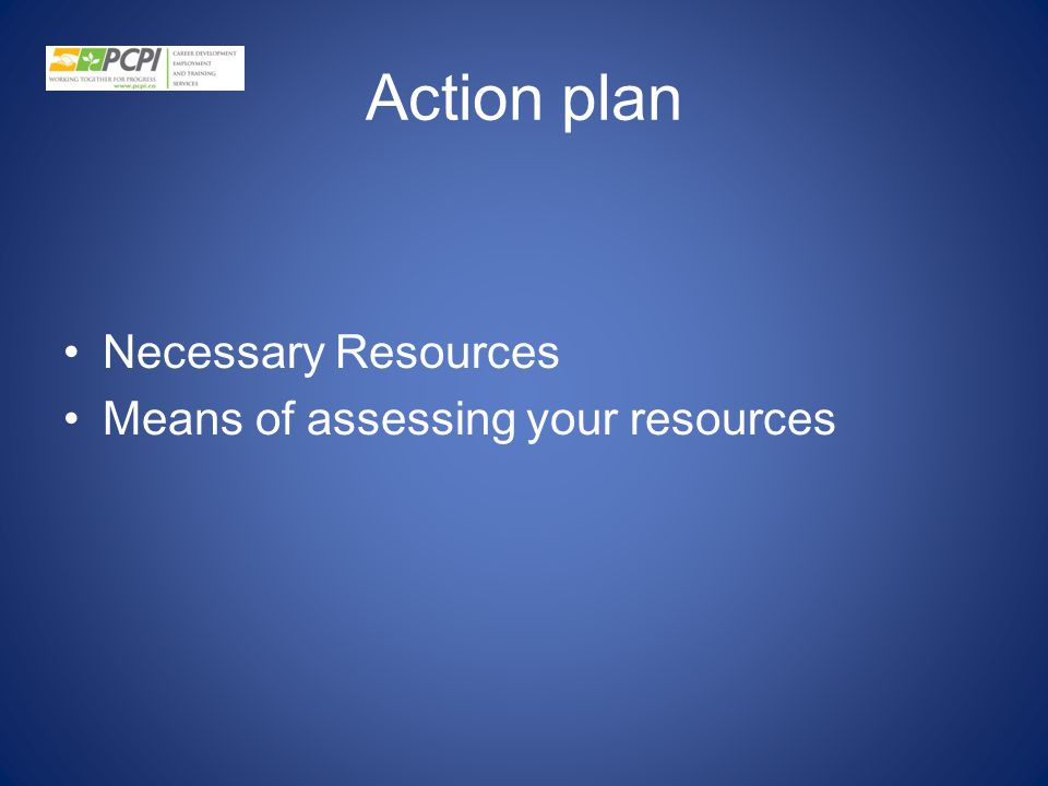 Action plan Necessary Resources Means of assessing your resources