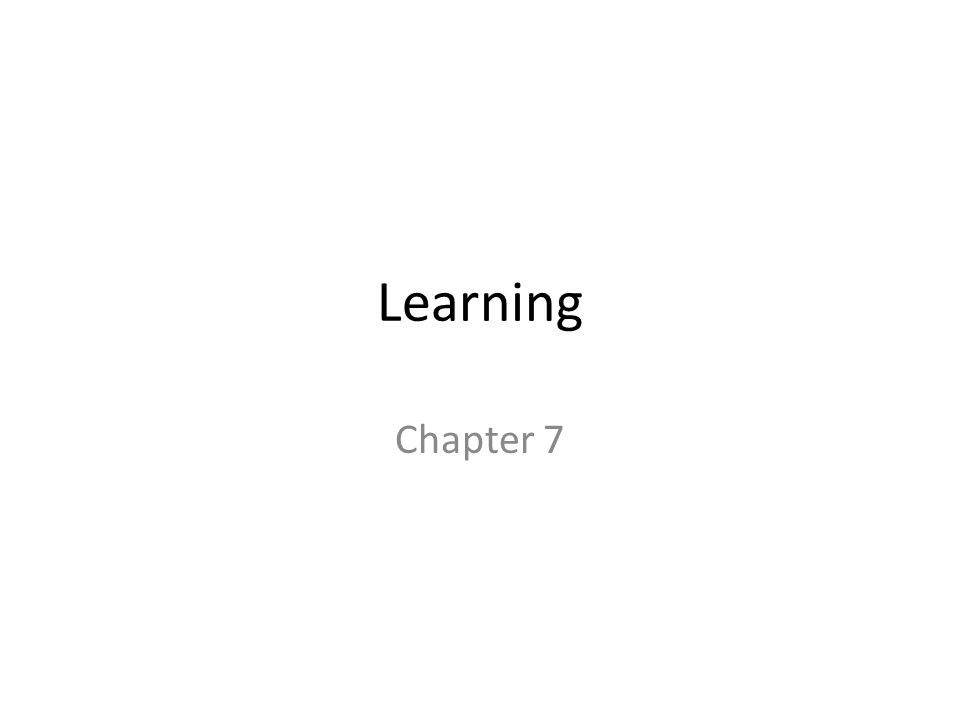Learning Chapter 7