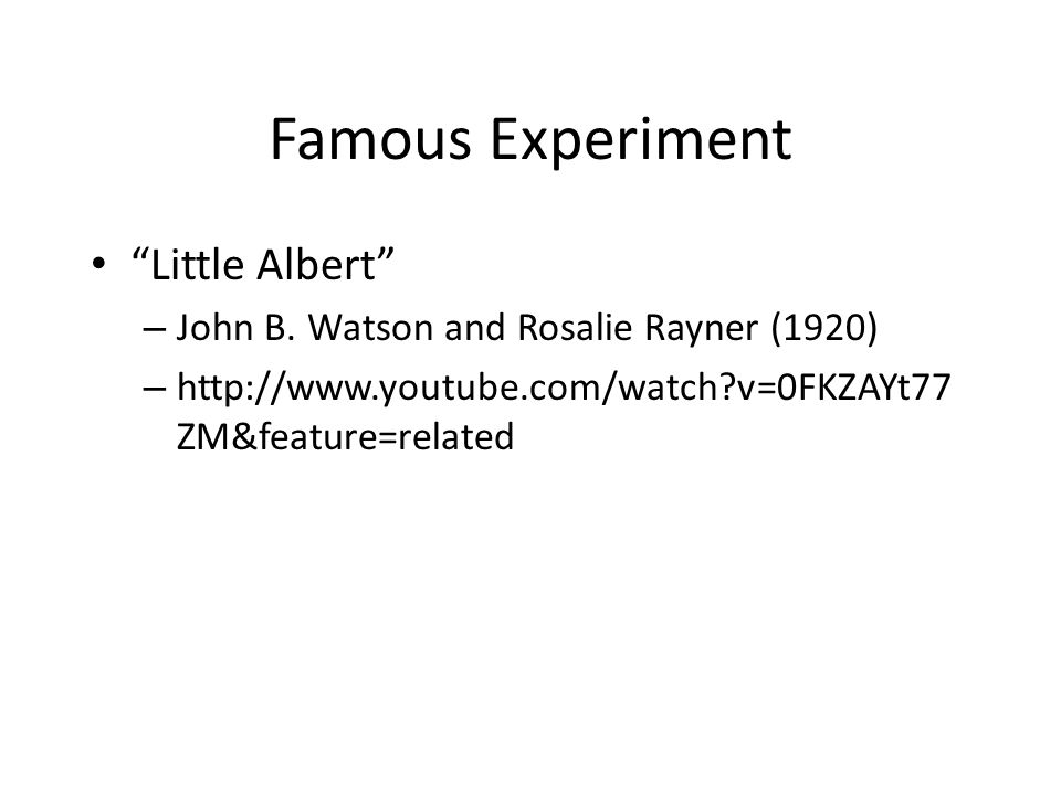 Famous Experiment Little Albert