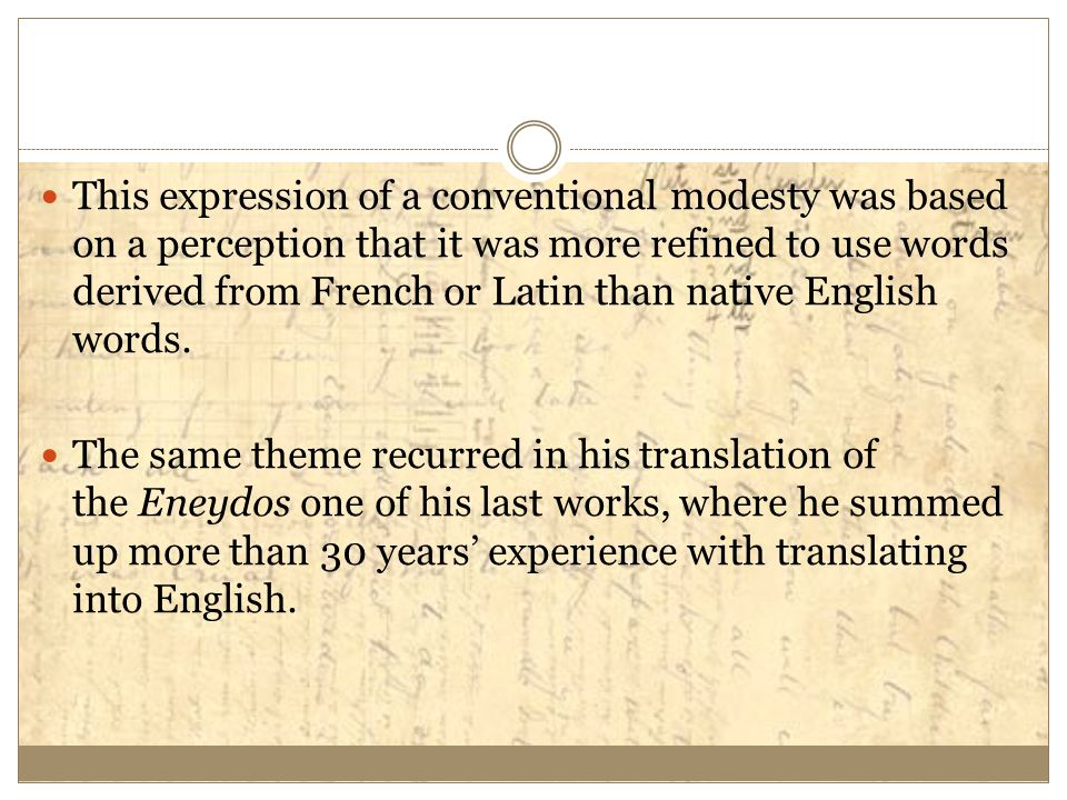This expression of a conventional modesty was based on a perception that it was more refined to use words derived from French or Latin than native English words.