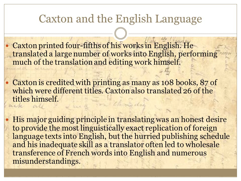 Caxton and the English Language