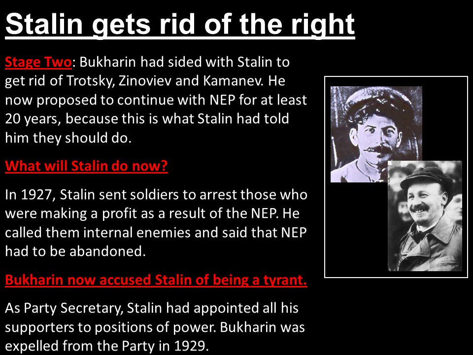 Stalin gets rid of the right