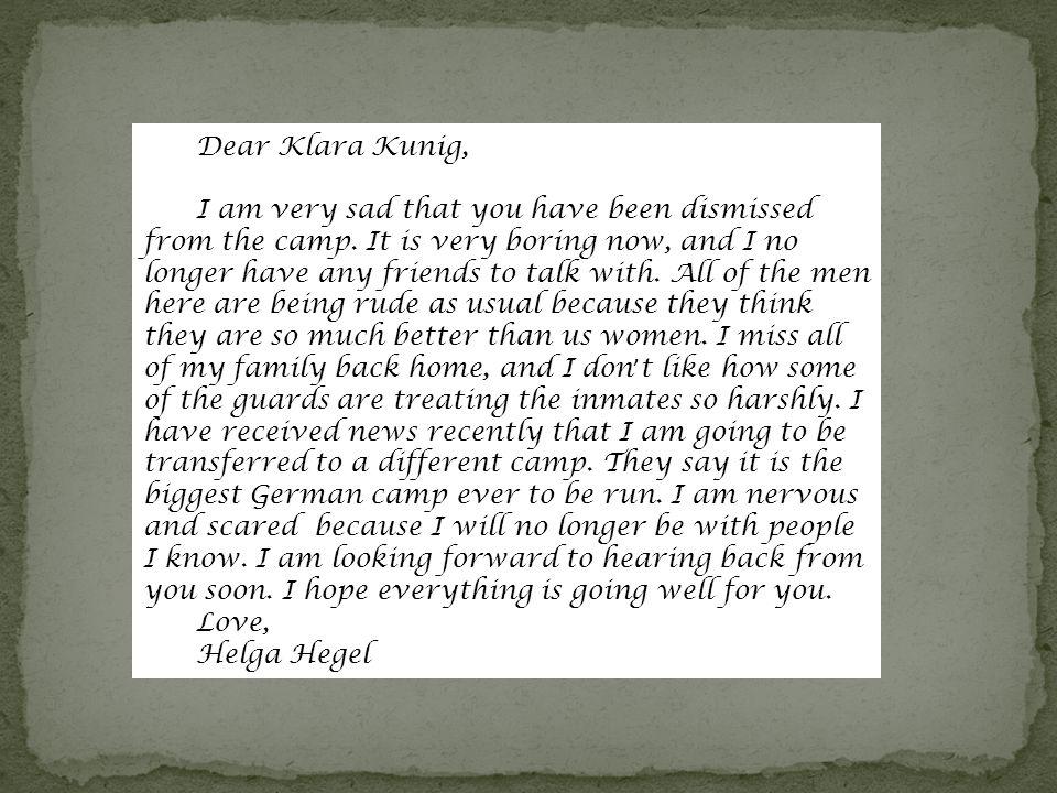 Dear Klara Kunig,