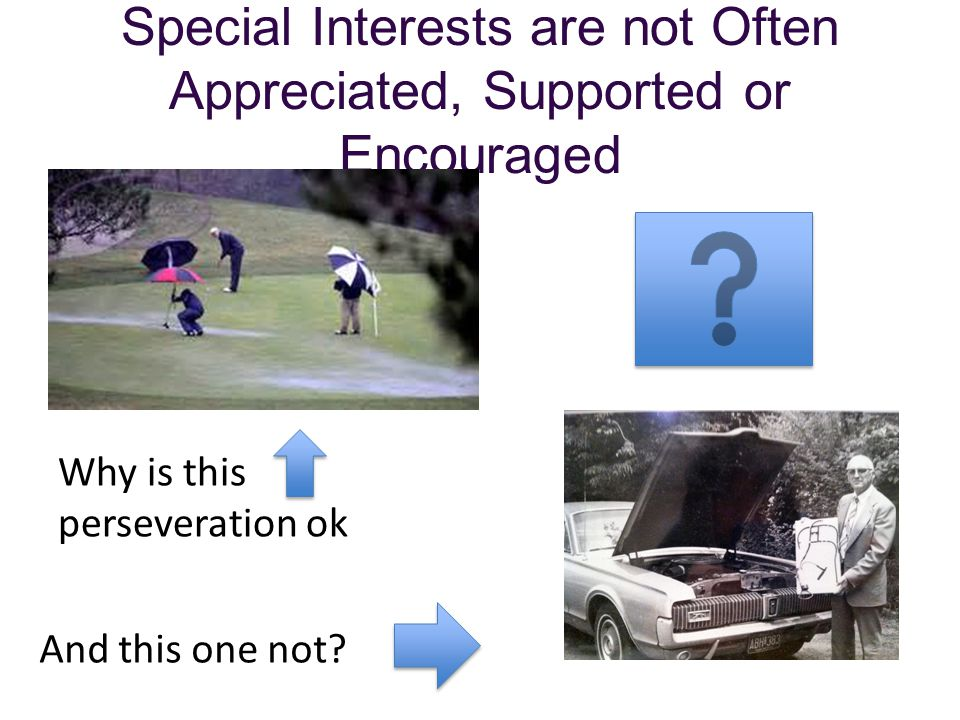 Special Interests are not Often Appreciated, Supported or Encouraged
