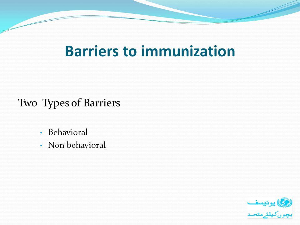Barriers to immunization