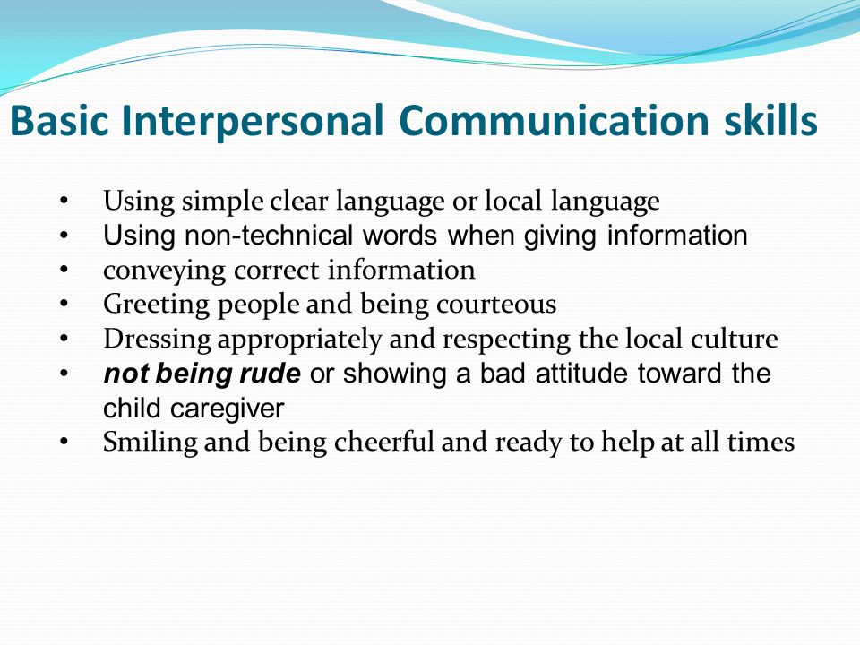 interpersonal skills and therapuetic communication Deborah m plummer's helping children to improve their communication skills: therapeutic activities for teachers, parents and therapists (9781843109594, $3295) packs in fun ideas to help kid ages 4-11 with a speech or language disorder to develop communication skills.