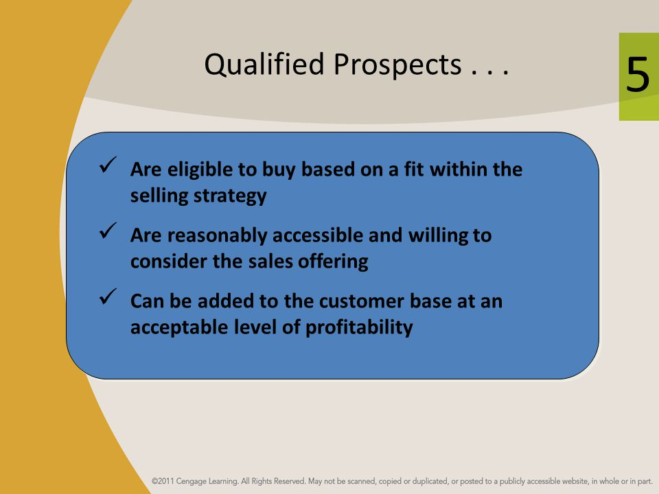 Qualified Prospects . . . Are eligible to buy based on a fit within the selling strategy.