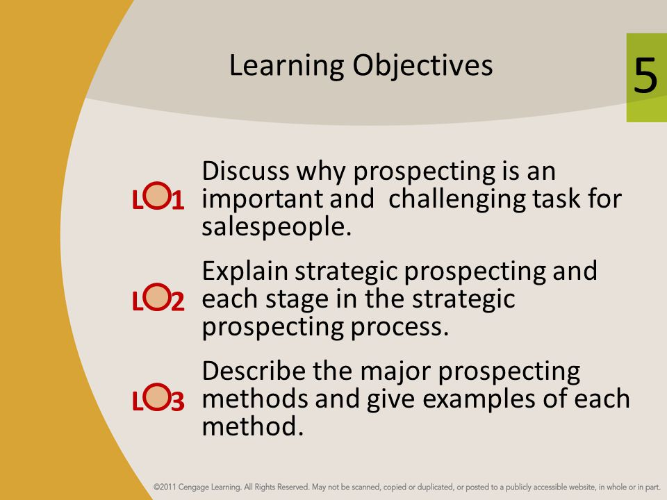 Learning Objectives Discuss why prospecting is an important and challenging task for salespeople.