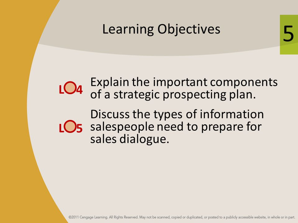 Learning Objectives Explain the important components of a strategic prospecting plan.