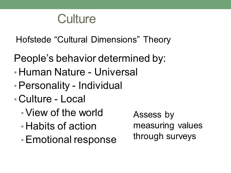 Culture People's behavior determined by: Human Nature - Universal