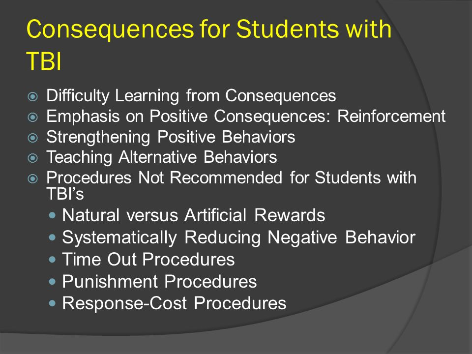 Consequences for Students with TBI