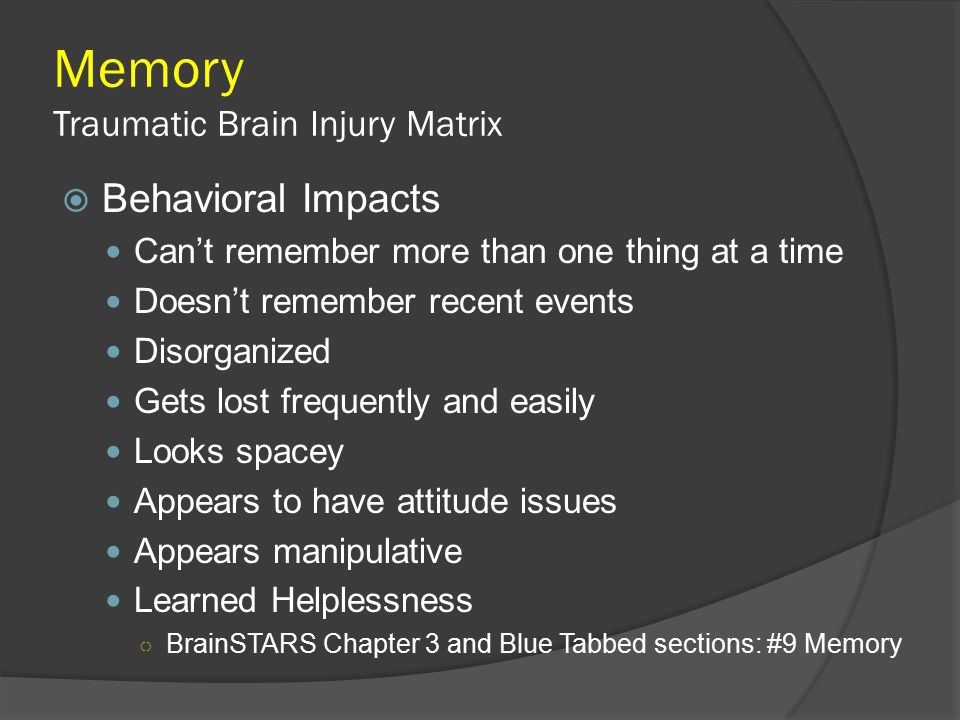 Memory Traumatic Brain Injury Matrix