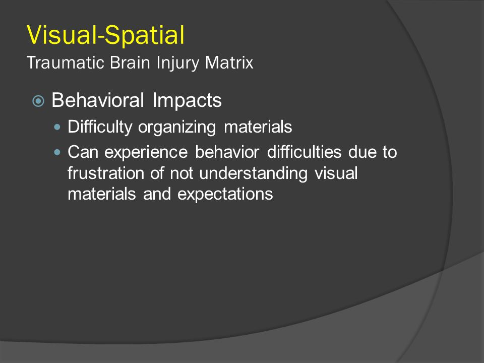 Visual-Spatial Traumatic Brain Injury Matrix