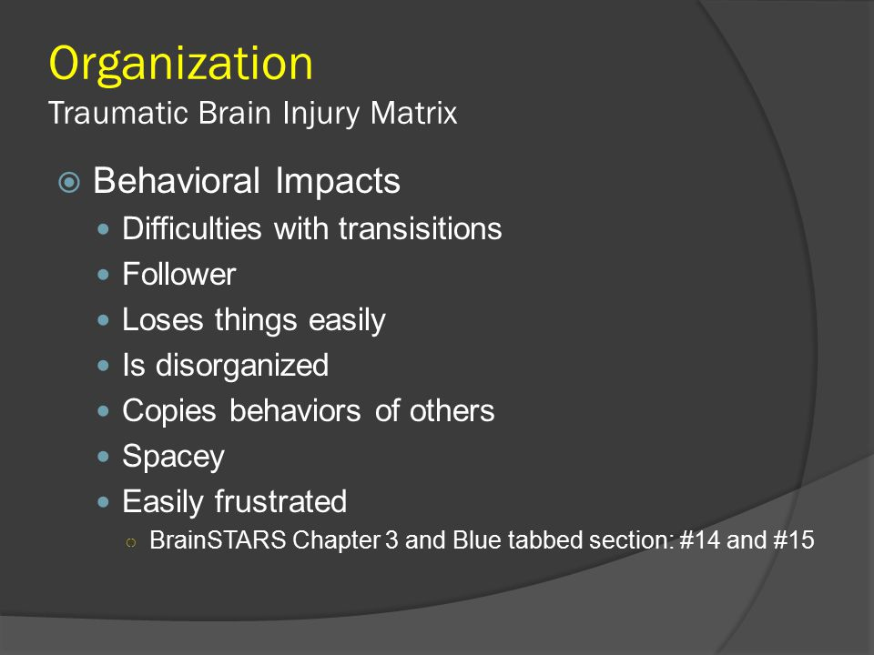 Organization Traumatic Brain Injury Matrix