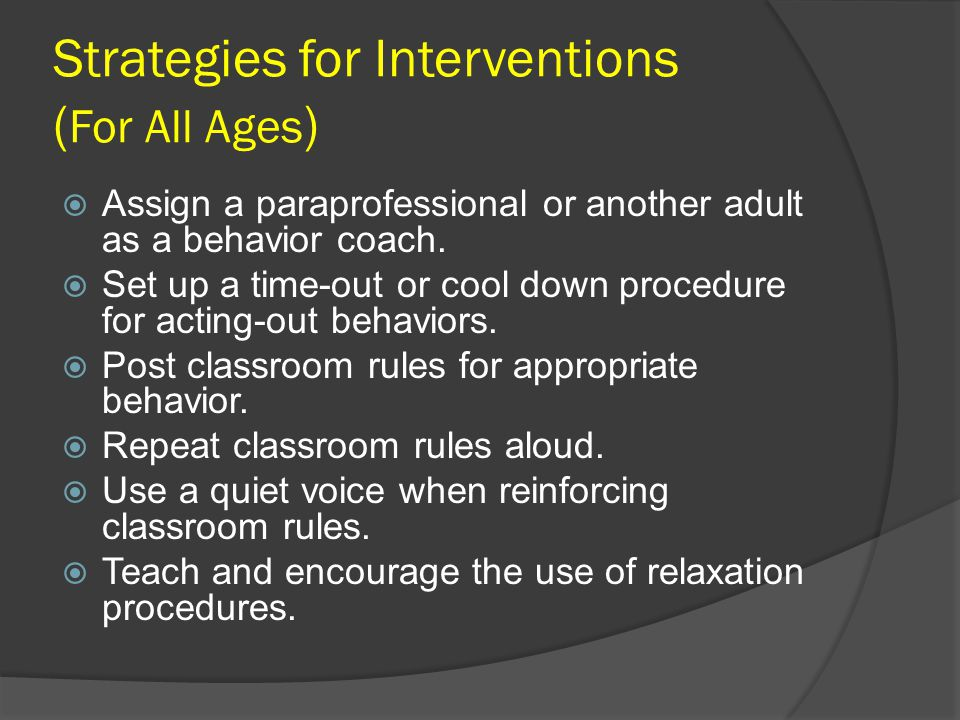 Strategies for Interventions (For All Ages)