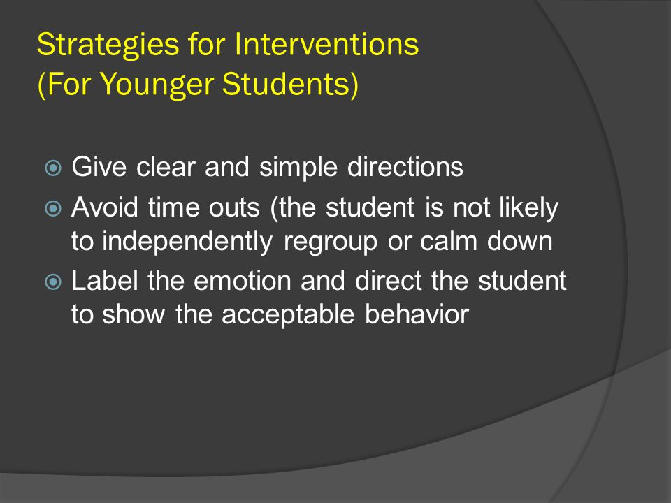 Strategies for Interventions (For Younger Students)