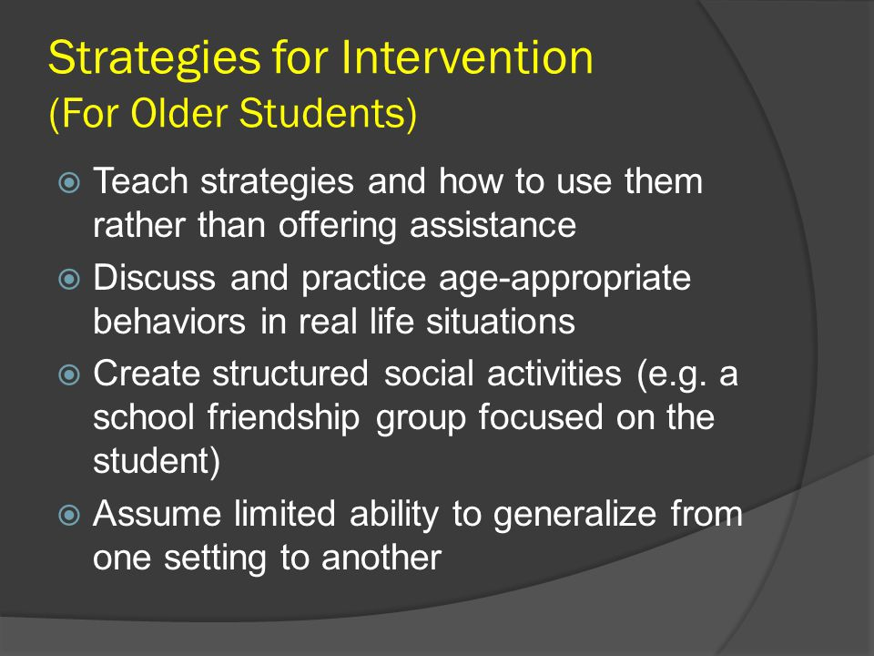 Strategies for Intervention (For Older Students)