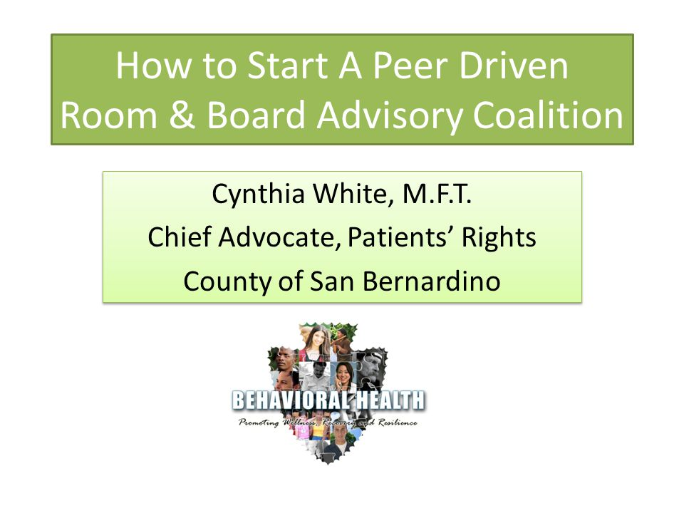 How to Start A Peer Driven Room & Board Advisory Coalition