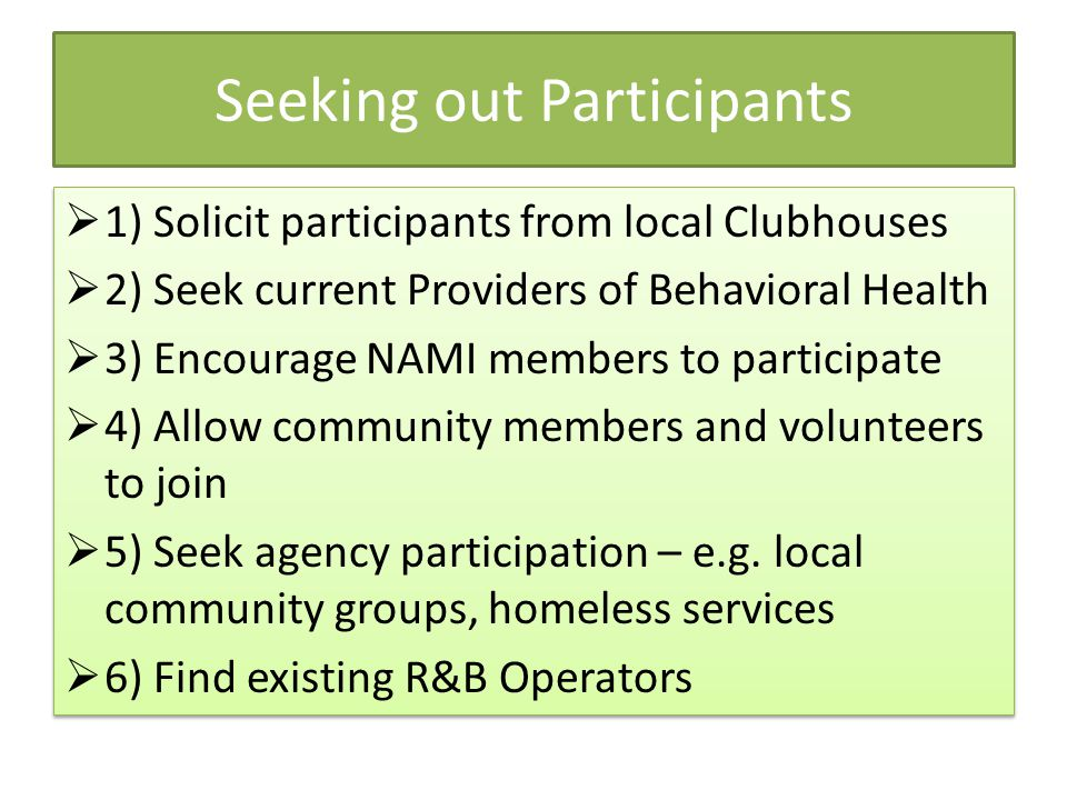 Seeking out Participants