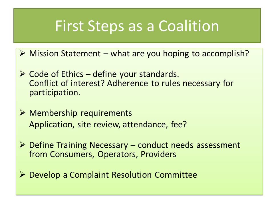 First Steps as a Coalition