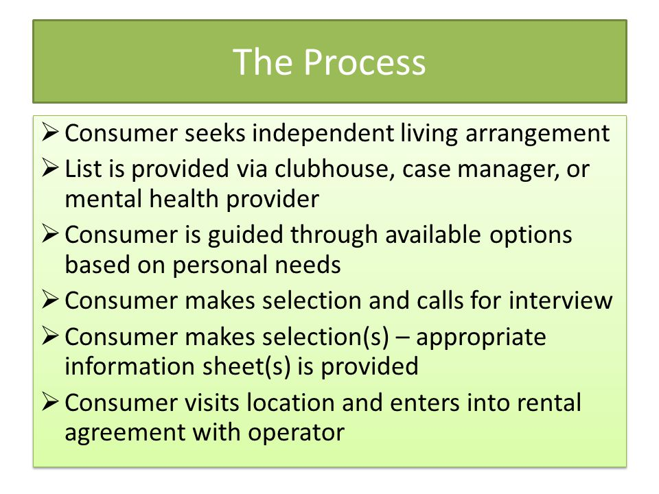 The Process Consumer seeks independent living arrangement