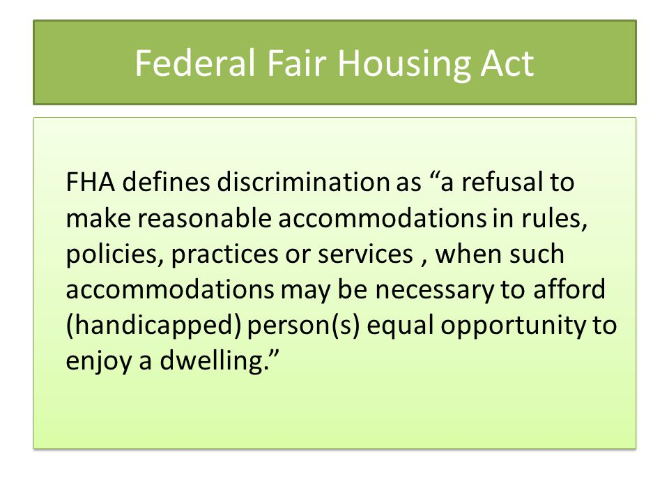 Federal Fair Housing Act