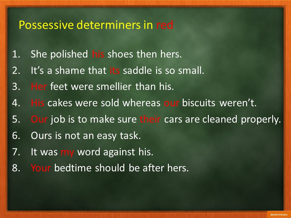 Possessive determiners in red