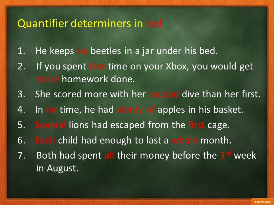 Quantifier determiners in red