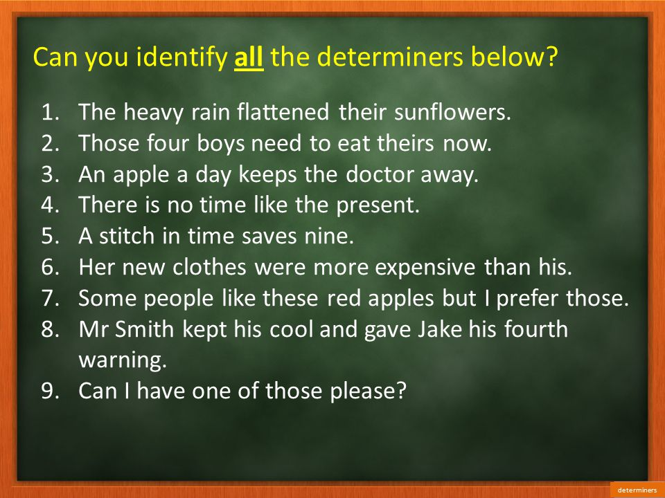 Can you identify all the determiners below