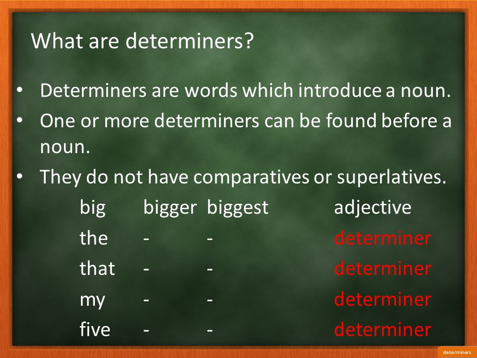 What are determiners Determiners are words which introduce a noun.