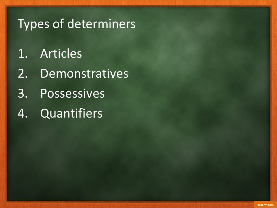 Types of determiners Articles Demonstratives Possessives Quantifiers