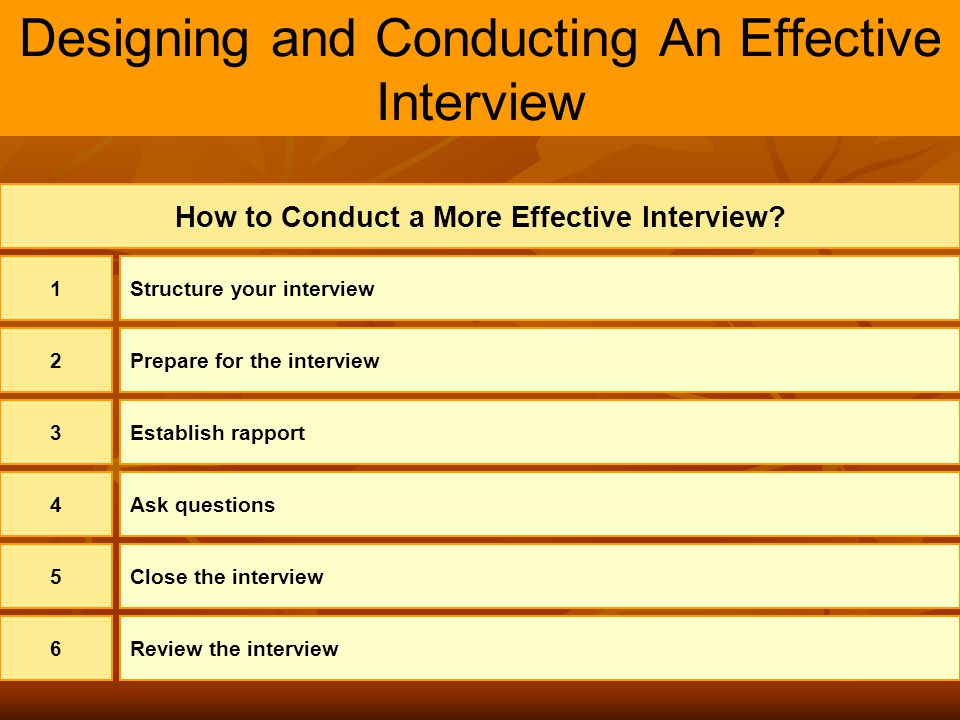 Designing and Conducting An Effective Interview