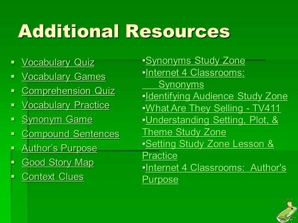 Additional Resources Synonyms Study Zone Vocabulary Quiz